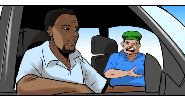Image showing angry customer complaining to driver of taxi